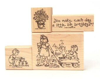 Friendship Grows Girlfriend Stamp Sisters Girl Kitten Stamp Puppy Dog Red Wagon Stamp Flowers Watering Can Stamp Stampin Up Rubber Stamp Set