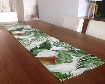 Palm Leaves Tropical Table Runner Coastal Classic. Palmier Tropical Vintage  Hawaiian Style. Beach House