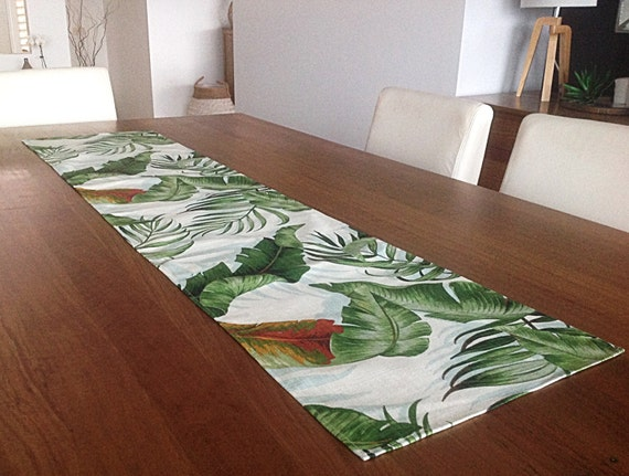 Palm Leaves Tropical Table Runner Coastal Classic Palmier
