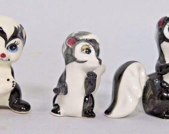3 Miniature Skunk Figurines Bone China Black and White Stripes Japan SHIKEN Vtg