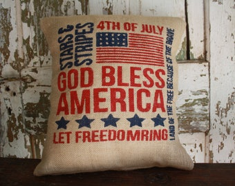 God Bless America  Patriotic Burlap Pillow, 18x18 or 16x16 Pillow Cover, Fourth of July Throw Pillow