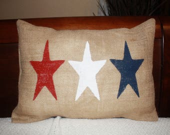 Red, White , and Blue Stars, 12x16 or 16x16 Pillow Cover, Fourth of July Throw Pillow, Patriotic Pillow