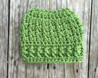 Ready To Ship Messy Bun Hat Green Beanie Women's Crochet Hat Winter Accessories