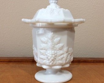 Westmoreland Milk Glass Spooner Jar With Paneled Grape Design