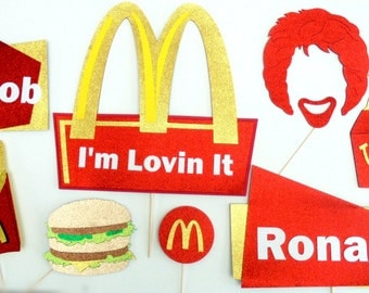 I' m lovin it Photo Booth Party Props , burguer ,French fries,Ronald , Happy little box, signs.