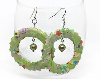 Origami Wreath Earrings - Paper Jewelry - paper Earrings - Origami Jewelry