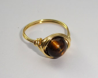 Tigers eye wire wrapped ring, Gold wire wrapped ring with tigers eye gemstone, Gemstone ring, Tigers eye ring