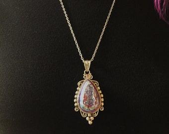 Druzy Necklace/ Bohemian Druzy Pendant Necklace/ Titanium Plated Druzy Quartz/  Gypsy/ Hippie/ Bohemian Jewelry