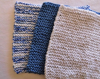 "handknitted dish cloth - set of 3 -  8 x 7.5"", potholders, knitted, dishcloth, wash cloth, face cloth, cotton, garter stitch"