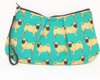 Large Pug Pleated Wristlet Purse Bag