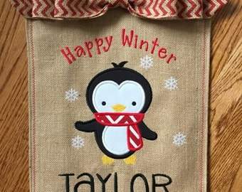 Monogrammed Penguin Burlap Garden Flag  Personalized with Name