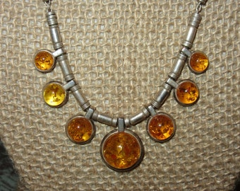 amber sterling silver multiple disc necklace