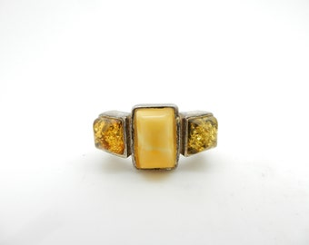 Vintage Sterling Silver/925 Yellow Butterscotch & Baltic Amber 3-Stone Ring Sz 6
