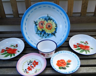 Set of 6, Vintage enamelware, Bunmper harvest, Peacock, tub, bowl, plate, floral,china, chinese, retro, shabby, country, picnic, cottage