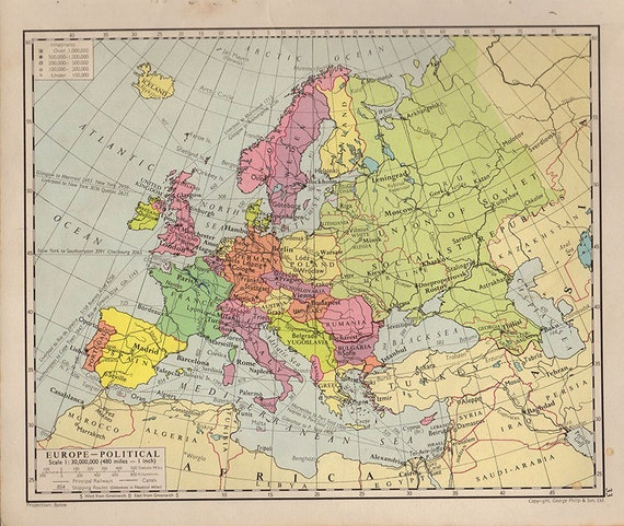 Mappa europa mappa di antico atlante di 1950 paesi delle - Mappa di ungheria ed europa ...