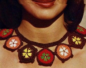 Mini Grannies Necklace Vintage Crochet Pattern Download