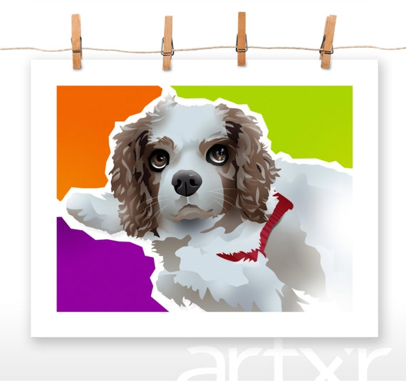 L.V. / The PET PROJECT / Cavalier King Charles Spaniel / Fine Art Print / Various Sizes