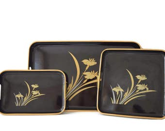 Vintage Japanese Trays, Lacquer Nested Trays Different Sizes Asian Black Gold Silver Color Trays Set, Fancy Serving Coffee Table Decoration
