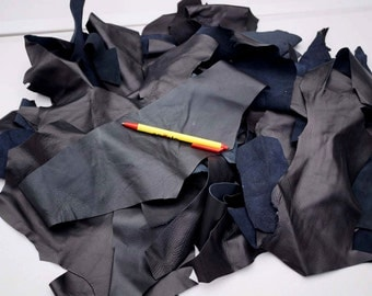 Black Lambskin Hand size or smaller Scrap leather Pieces 0.5 KG Bag