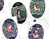 Pack of 8 Papio Press Natural History, Otter, Red Panda, Slow Loris, Stag Postcards