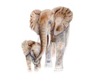 New Mom Gift, Elephant Art Print, Elephant Painting, for Mom, for Her, Elephant Print, Gift for New Mom, Elephant Gift, New Mom, Safari Gift