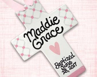 Personalized Baptism Keepsake - Christening Gift - Baby Dedication Gift - Baptism Gift for Girl - Baptism Cross - Personalized Baptism Cross