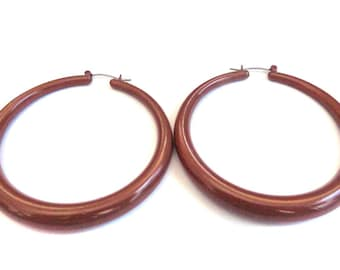 VINTAGE HOOP EARRINGS Cocoa Brown Hoop Earrings 2.5 inch Hoop Earrings