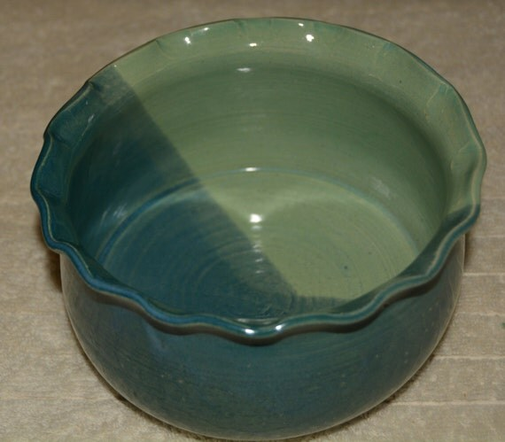 Bowl, Salad Bowl, Soup Bowl, Candy Dish, Stoneware, Ceramic, Peacock Blue, Turquoise, Altered Rim, Kitchen, Serving Dish