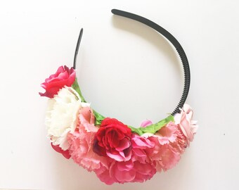 Pink X Red X White 'JACKIE' Dahlia and Rose floral headpiece/ headband