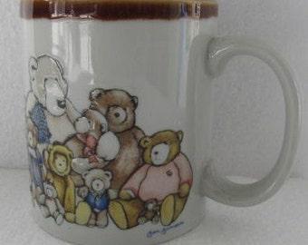 1980's Heartprint Raised Bears Finish Novelty Collectible Coffee Mug by Jan Jameson