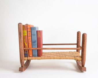 Primitive Wood Split Wood Base Baby Doll Cradle Bed Crib Woven Wicker Doll  Bed Tabletop Bookcase