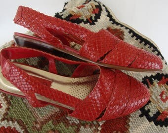 ON SALE Vintage Red Woven Leather Sandals Huaraches Braided Slingback Summer Flats Size 7.5 Ipanema Made In Brazil