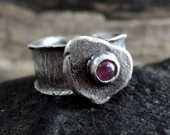 SALE! coupon code: SALE15 Tourmaline ring, silver rsing, rough, raw, sterling silver, ring, tourmaline