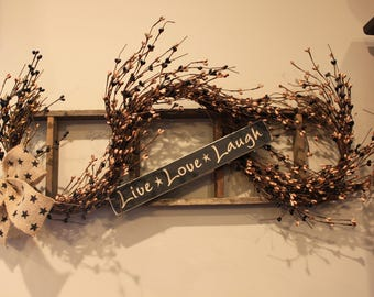 Tobacco Lath Ladder with Grapevine, Berries, Live, Love, Laugh Sign and Burlap Bow