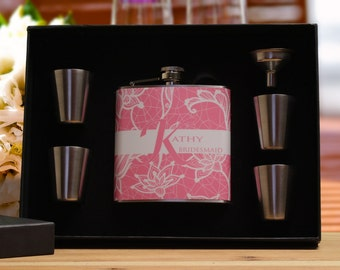 Personalized Flask for Women, Bridesmaid Gift, Pink Flask Gift Set