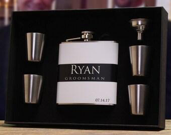 Groomsman Flask, Set of 5, Personalized Flasks, Groomsmen Gifts, Black