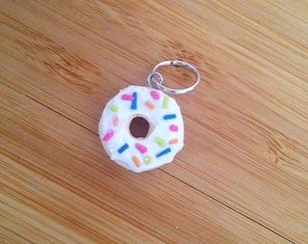 White Sprinkle Donut - Stitch Marker or Progress Keeper Charm