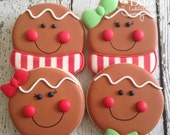 Gingerbread Man Ginger Girl Ginger Boy Santa Christmas Holiday Decorated Sugar Cookies