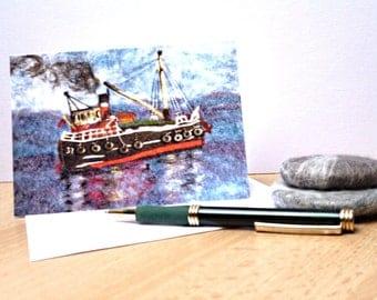 "Nautical Greetings Card,  ""Vic 32"" Puffa Boat, Blank Greetings Card Print of Original Felt Art Picture"