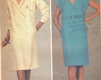 """Mccalls 9006, Sz 12/Bust 34"""". Ladies Pullover Straight Shirt Dress with pockets, long or short sleeve options,RARE Vintage 80s pattern"""