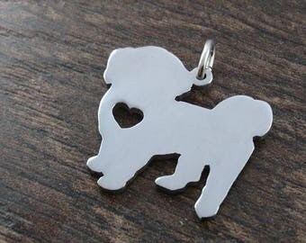 Shih Tzu cute Sterling Silver pendant with heart cut out saw pierced