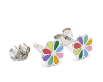 Rainbow flower Stud Earrings 925 sterling silver