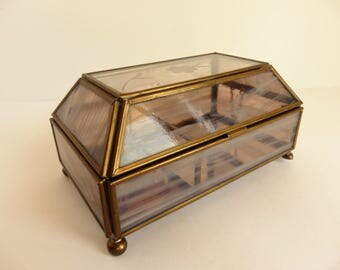 Glass and Brass Music and Trinket Box. Sankyo Music Box. Musical Jewelry Box