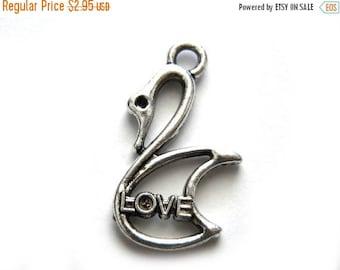 HALF PRICE 6 Silver Swan Love Charms