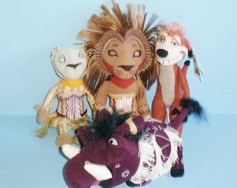 Disney The Lion King Musical Plush Simba, Nala, Pumbaa and Timon Lot Of 4 Plush Bean Bag Animals 1997