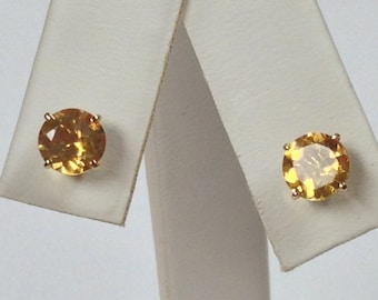 Natural Citrine Stud Earrings Solid 10kt Yellow Gold