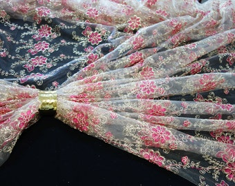champagne tulle fabric with hotpink and gold flowers fabric
