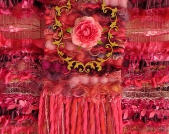 """Textile art, shabby chic wall decor, wall tapestry weaving  """"Rosalinde"""" ,woven wall hanging pink, fuchsia"""