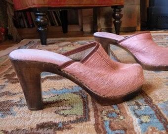 Vintage Pink Fur Platform Shoe Vintage High Heel Clog Shoe