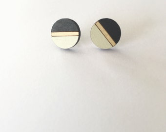 NEW Hand Painted Laser Cut Wood Geometric Round Pattern Stud Earrings- Black and White